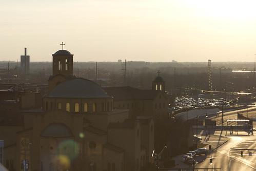 sunset sun setting city landscape photography chrispackart lensflare lens flare church street