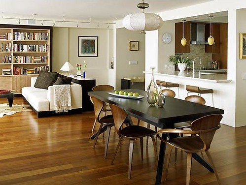 Modern, open-plan living: Norman Cherner chairs + Noguchi coffee table