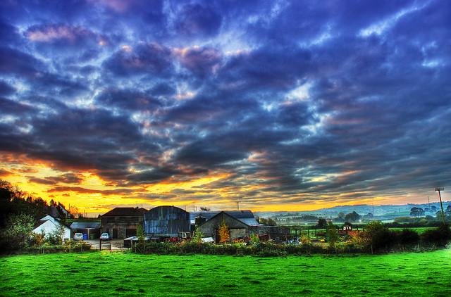 Sunrise over Farm - HDR
