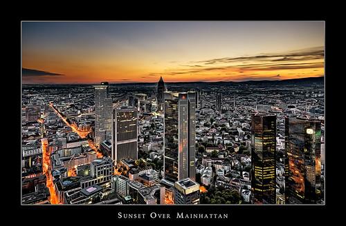 city light sunset sky clouds skyscraper photoshop germany cityscape frankfurt bank dri hesse mainhattan maintower artlibre photofaceoffwinner platinumheartaward theperfectphotographer goldstaraward dcdead
