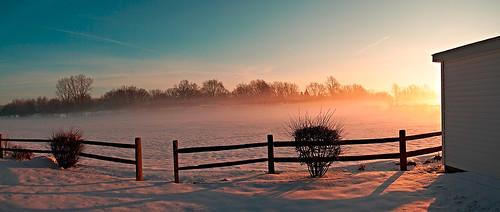 morning winter sun snow cold fog sunrise dawn