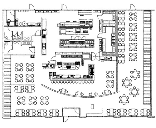 Restaurant kitchen blueprint afreakatheart Commercial kitchen layout plan