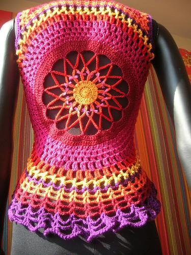 Fire Flower Mandala Crochet Waistcoat