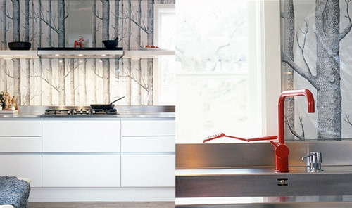 white kitchen, woods wallpaper, red faucet