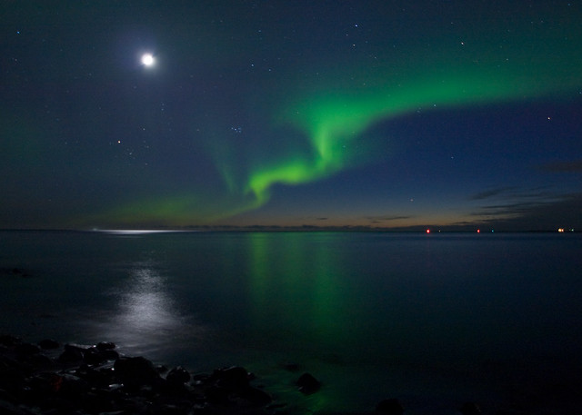 Northern Lights in Iceland Full Moon