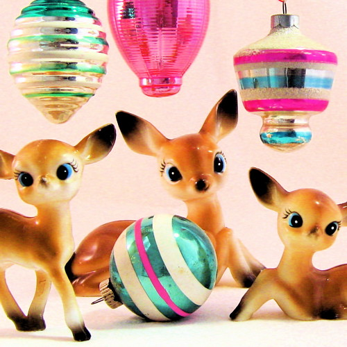 Vintage Deer & Ornaments