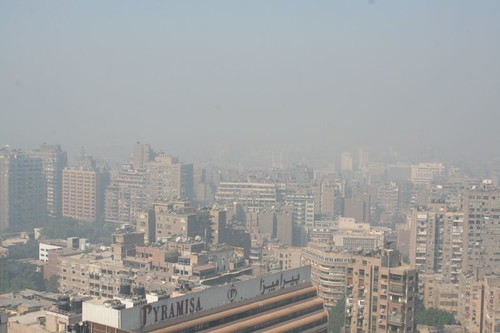 Cairo Air Pollution with smog - Pyramids1 - climate change is directly impacting public health