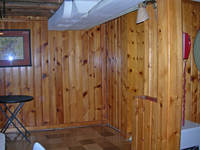 Knotty pine paneling in the basement of the old house for Classic house 2006