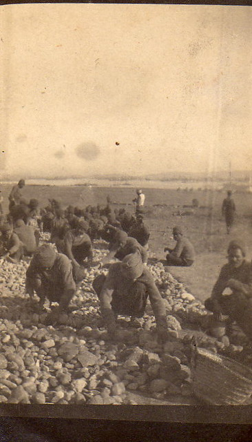 (Egyptian?) Men collecting stones, possibly for road building, World War I, 1915