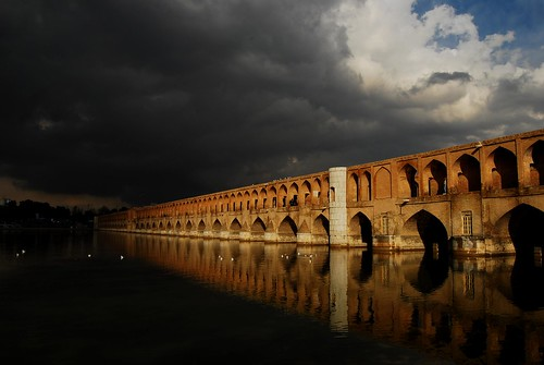 bridge storm river day iran cloudy esfahan isfahan zayandehrood