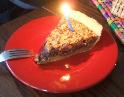 Pecan fudge birthday pie