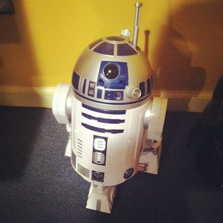 My dad's R2-D2! He really is rude. Haha. He can move around and plays Leia's message, but he refuses to go on patrol.  and he's got a cup holder! Lol ☺️ #starwars #r2-d2