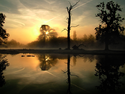 mist reflection sunrise puddle dawn buckinghamshire contrails slough kevday langleypark langleycountrypark
