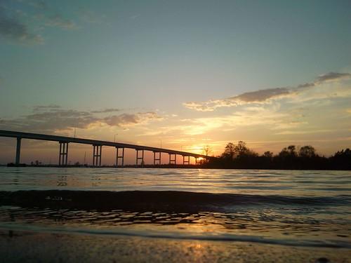 cameraphone bridge sunset clouds waterway
