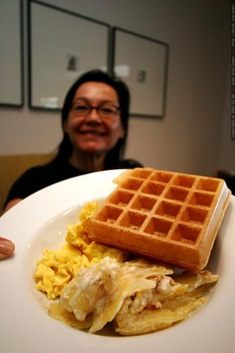 grandma neeta with her sourdough waffle    MG 7854
