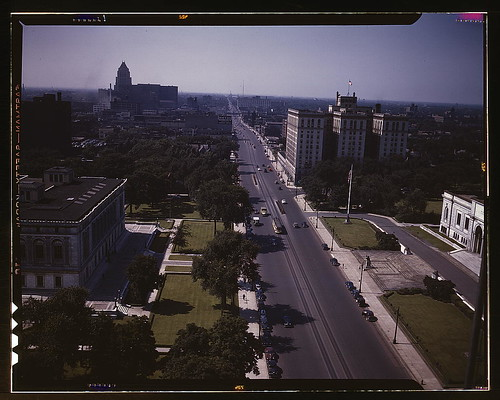 Looking north on Woodward Ave., from the Maccabee[s] Building with the Fisher Building at the far left, and the Wardell Hotel at the middle right, Detroit, Mich.  (LOC)