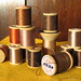 Spools of vintage thread: browns