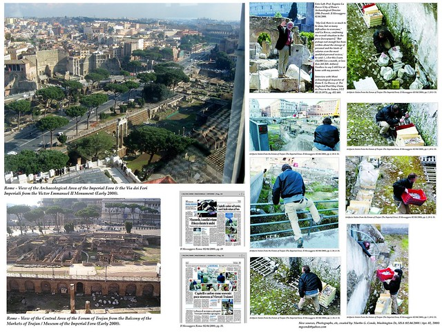 Rome – The Degrade of Rome's Cultural Heritage (02.04.2008). The Staff of the Il Messaggero Newspaper in Rome Steals Artifacts from the Forum of Trajan To Show Just How Inept the Comune di Roma is in Staffing, Maintaining & Protecting Rome's Ruins.