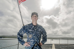 Machinist's Mate (Auxiliary) 2nd Class Chase Slicer poses for a portrait on the USS Frank Cable (AS 40) flight deck, Feb. 14. (U.S. Navy/MC2 Allen Michael McNair)