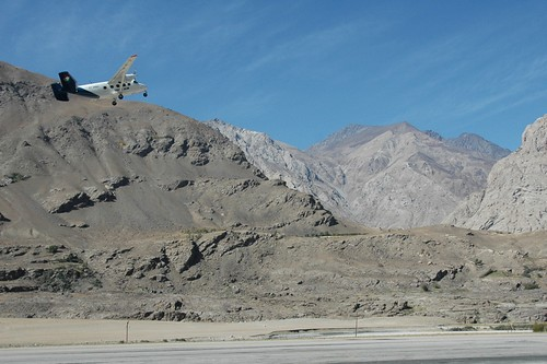 Tajik Air Taking Off in Pamir Mountains, Tajikistan