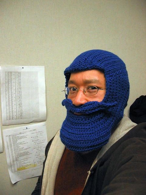 Blue Beard Hat, crocheted