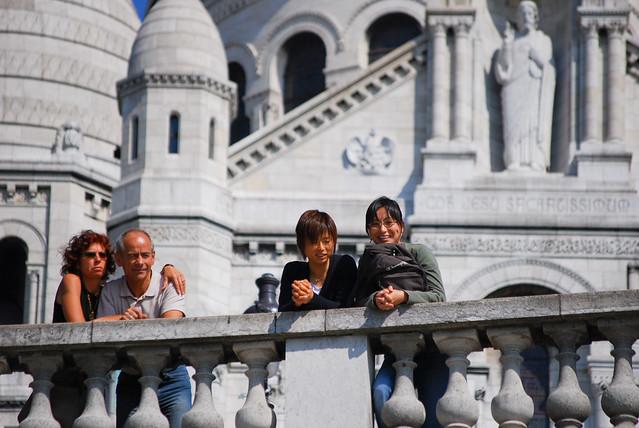 friends gazing out at Paris