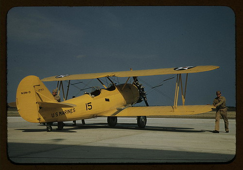Marine power plane which tows the training gliders at Page Field, Parris Island, S.C.  (LOC)