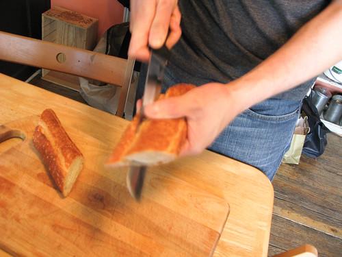 Slice open baguette