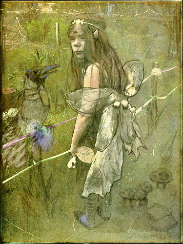Mrs. Crow and The Moon Fairy, after Rackham