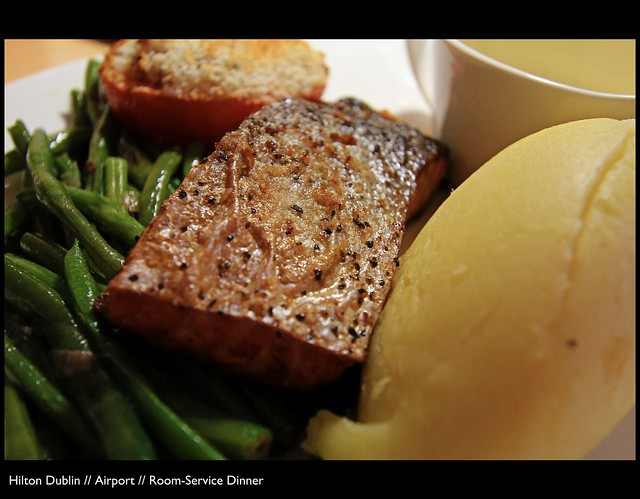 Salmon fillet // beans // potato // tomato // sauce // The Hilton ...