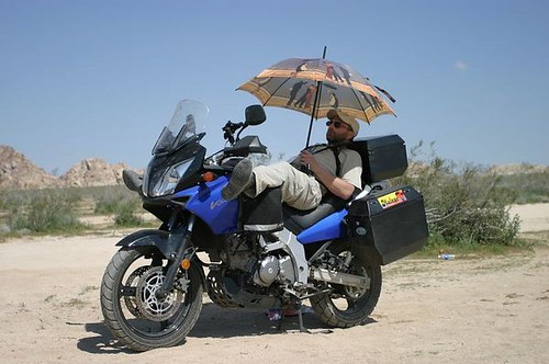 V Strom with umbrella
