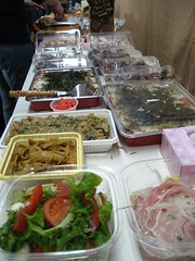 fish(0.0), frozen food(0.0), meal(1.0), lunch(1.0), meat(1.0), buffet(1.0), food(1.0), dish(1.0), cuisine(1.0),