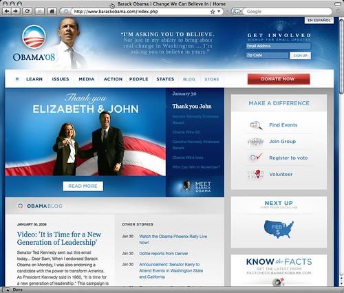 Obama Website - 01/30/08