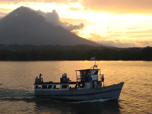 travel lake sunrise boat nicaragua lakenicaragua ometepeisland volcanoconcepcion