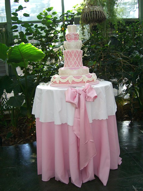 Blush pink wedding cake table flickr photo sharing for How to dress a wedding table