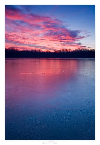 sunset lake ice austria thin styria