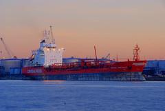 Cargo ship in port of Antwerp
