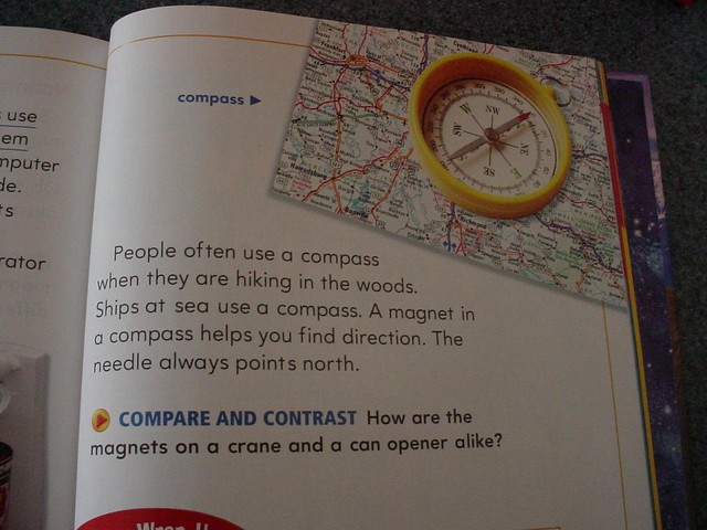 Science textbook learning: do compasses have magnets in them? Yes they do!