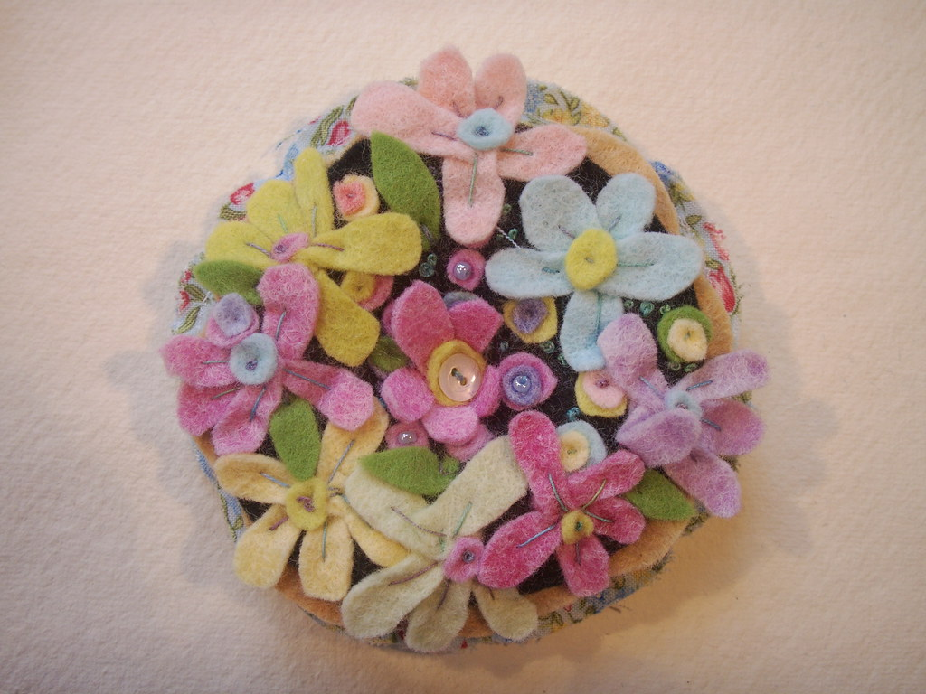 felt flowered pin cushion