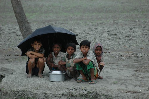 Children under shelter