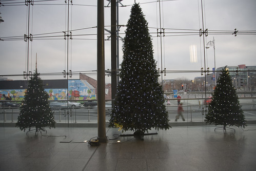 THREE CHRISTMAS TREES IN THE NEW SHOPPING CENTRE IN THE IFSC