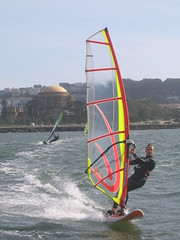 windsurfer heading for our wake