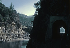 Scenery along the Eel River on NWP Train 3, the Redwood, on January 31, 1971