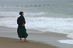 Amish girl on the beach