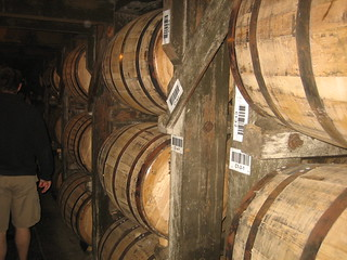 Bourbon barrels on ricks