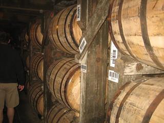 Bourbon barrels on ricks