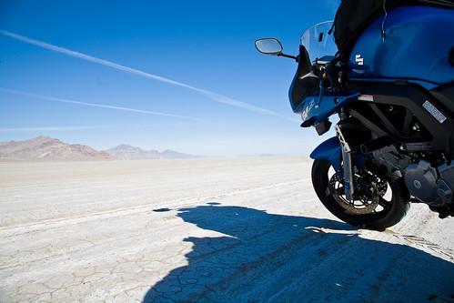 travel blue sky utah riding motorcycle touring motorcycling drylake suzukisv650 bonnevillesaltflats acrossamerica