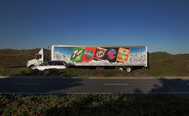 DPSG delivery truck; 7-up, Sunkist, A&W, RC, Snapple.   Great Highway, San Francisco (2014)