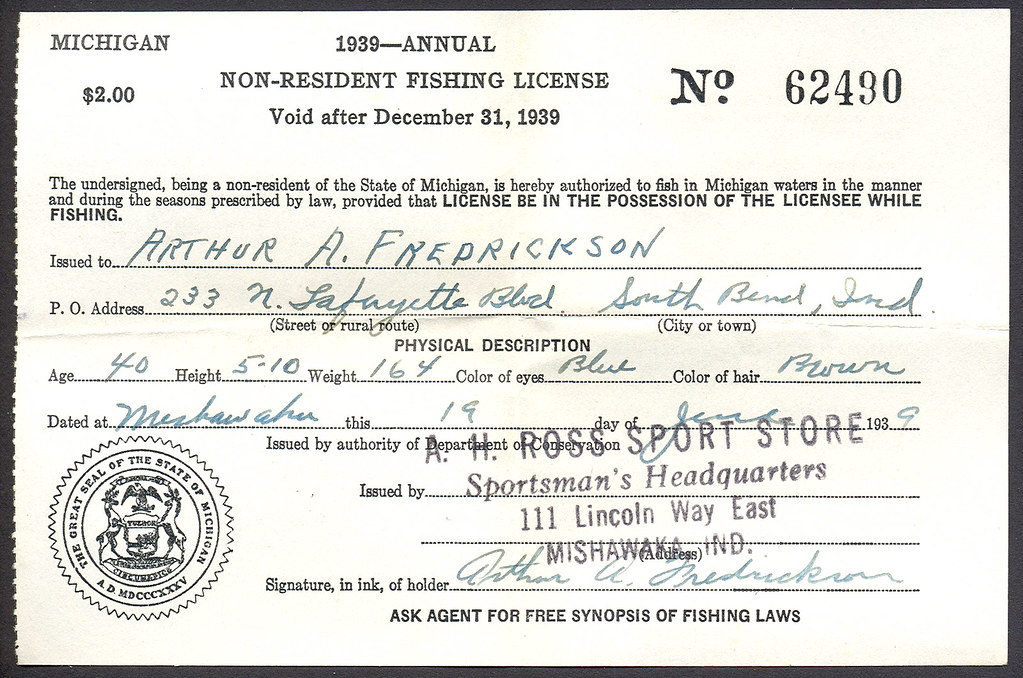 1939 michigan non resident fishing license explore for Buy texas fishing license online