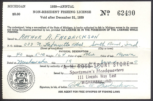 1939 michigan non resident fishing license explore for Fishing license mi